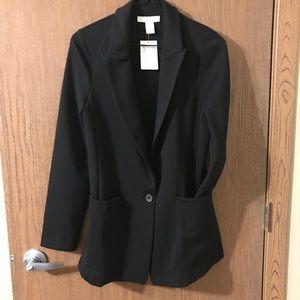 Long black blazer suit jacket
